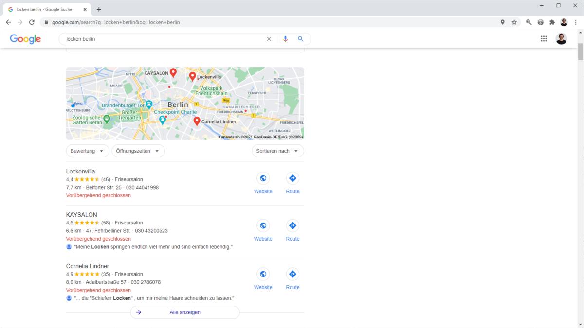 Google Bewertungstext wird in Google Maps angezeigt