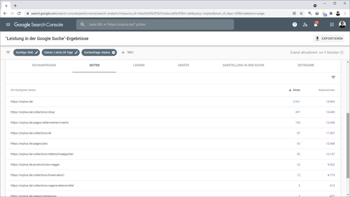 Sitelink Analyse in der Google Search Console