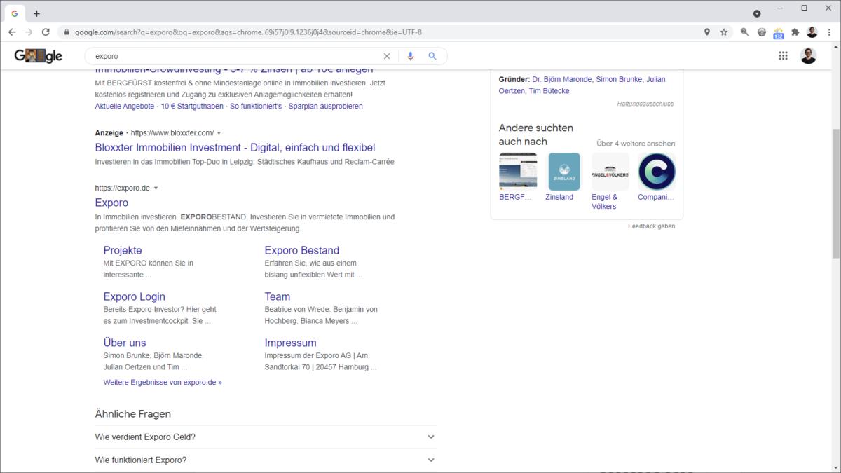 Extended Sitelinks in der Google Suche für die Suche nach exporo