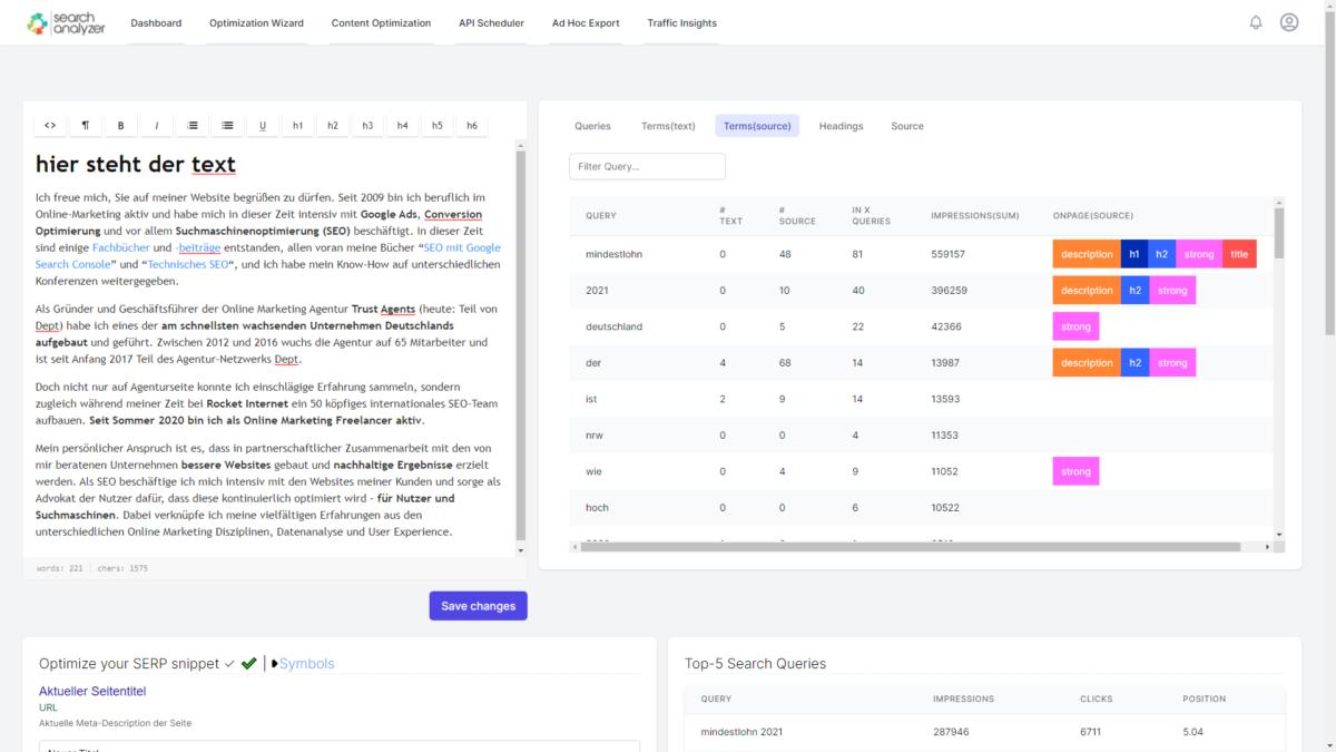 searchanalyer content optimierung