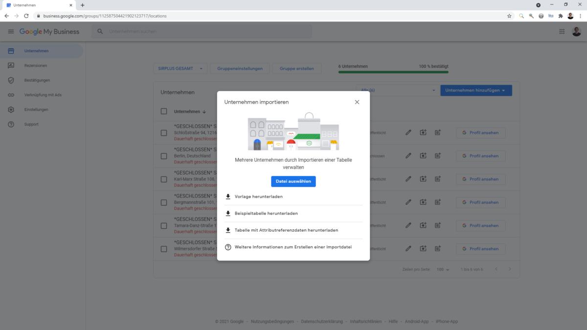Über den Import können mehr Attribute zu Google My Business hochgeladen werden